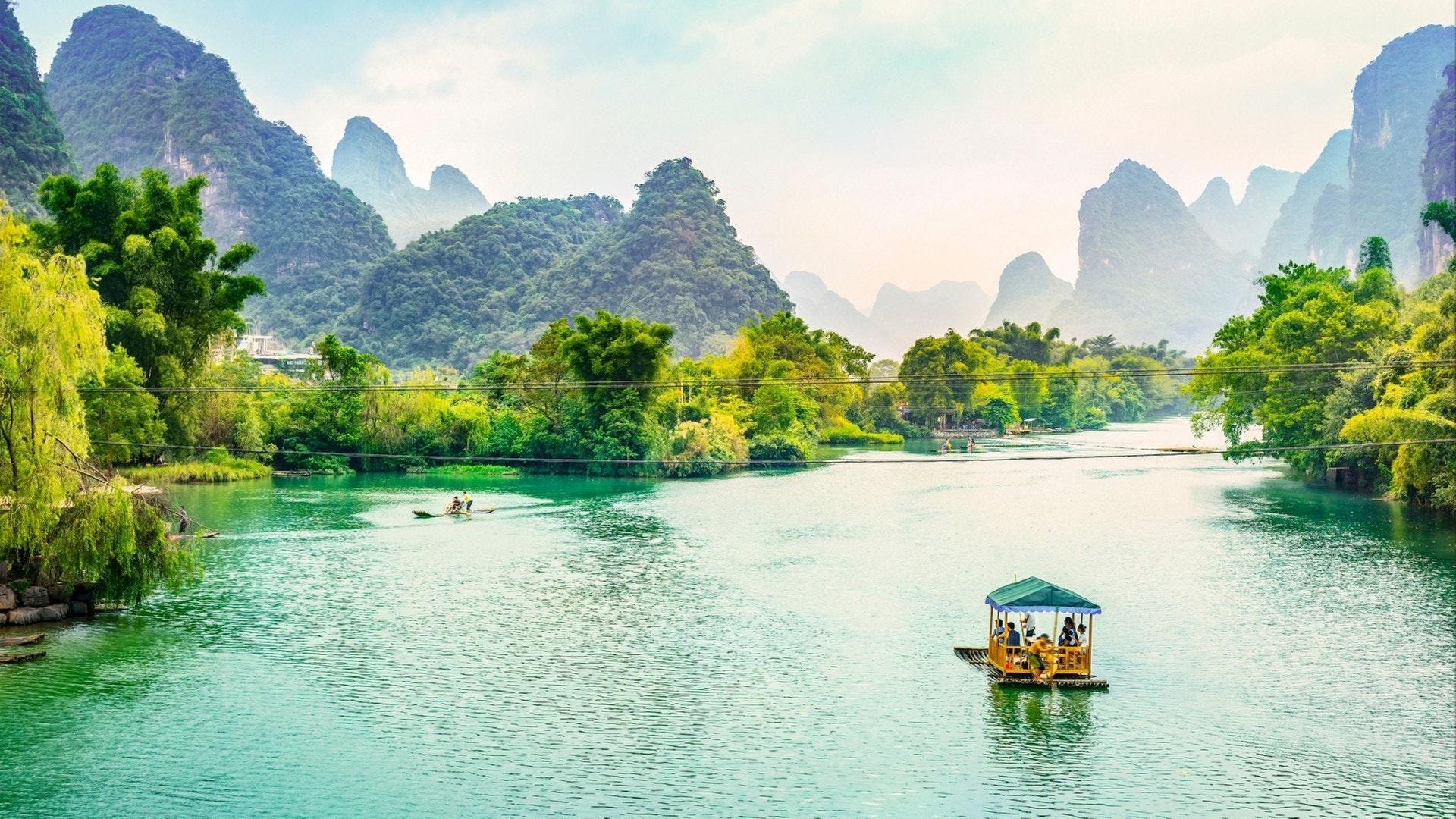 Landscape of Guilin, Li River and Karst mountains
