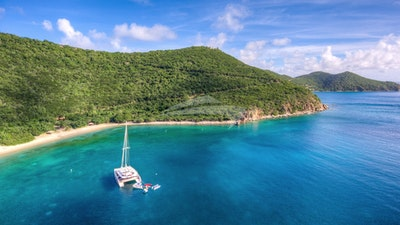 Anchored off the back side of Peter Island