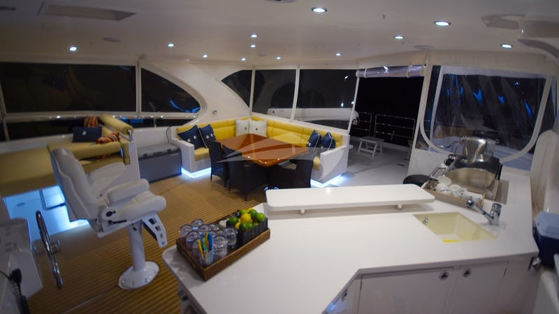 The SEA BOSS flybridge by night