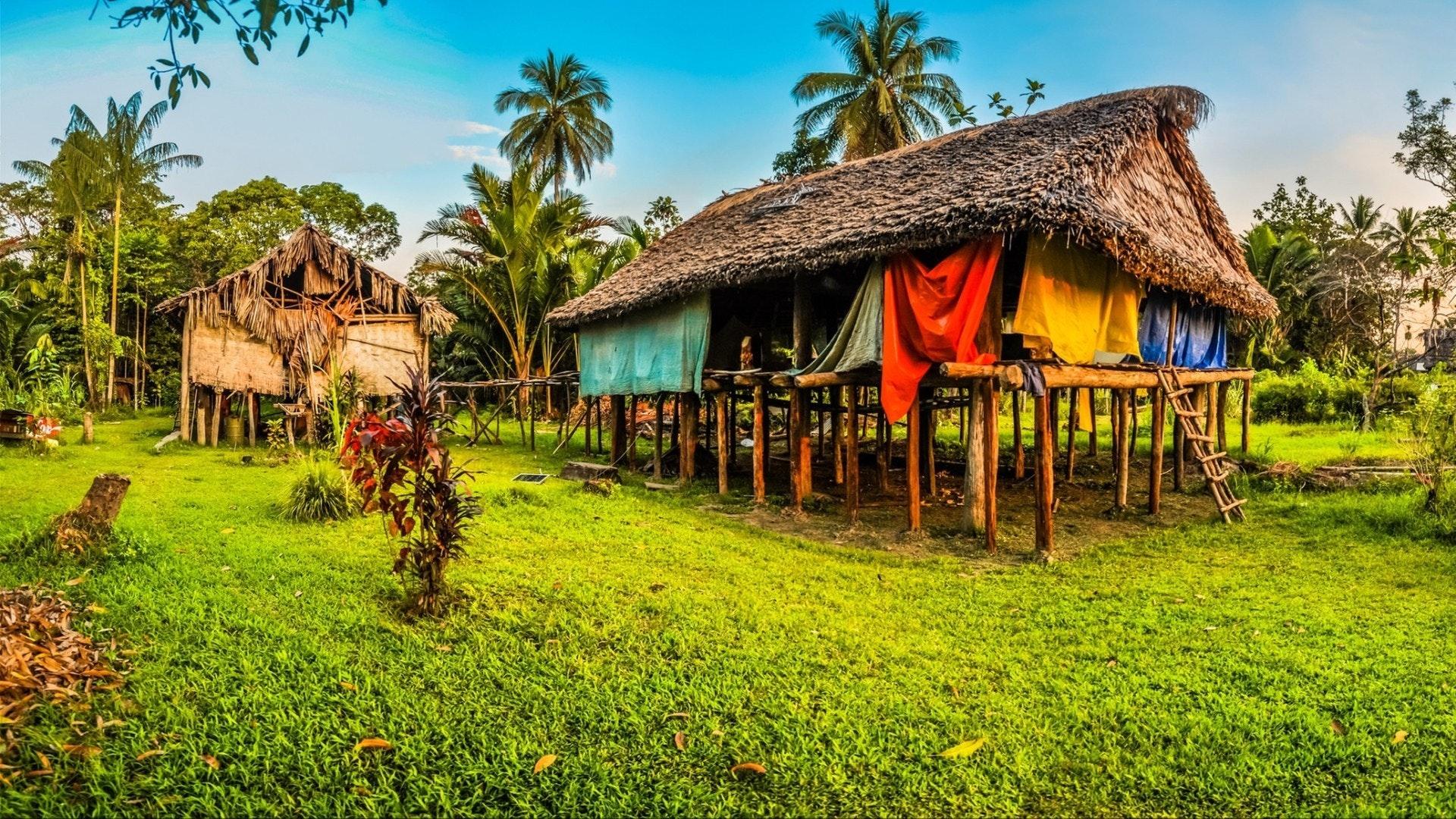 Photo de maisons simples en paille et en bois à Avatip, rivière Sepik en Papouasie-Nouvelle-Guinée