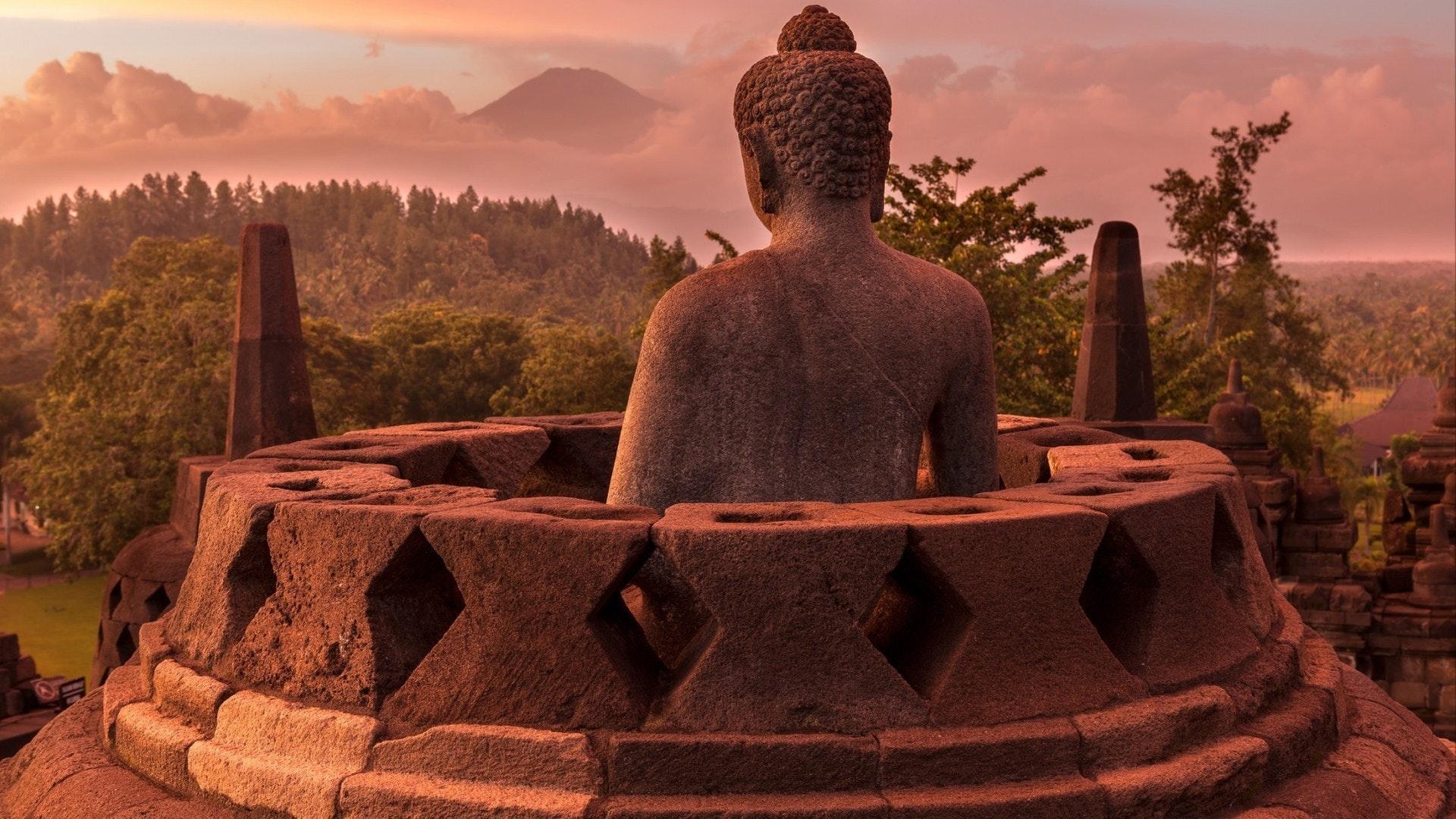 Buddist temple Borobudur at sunset. Yogyakarta