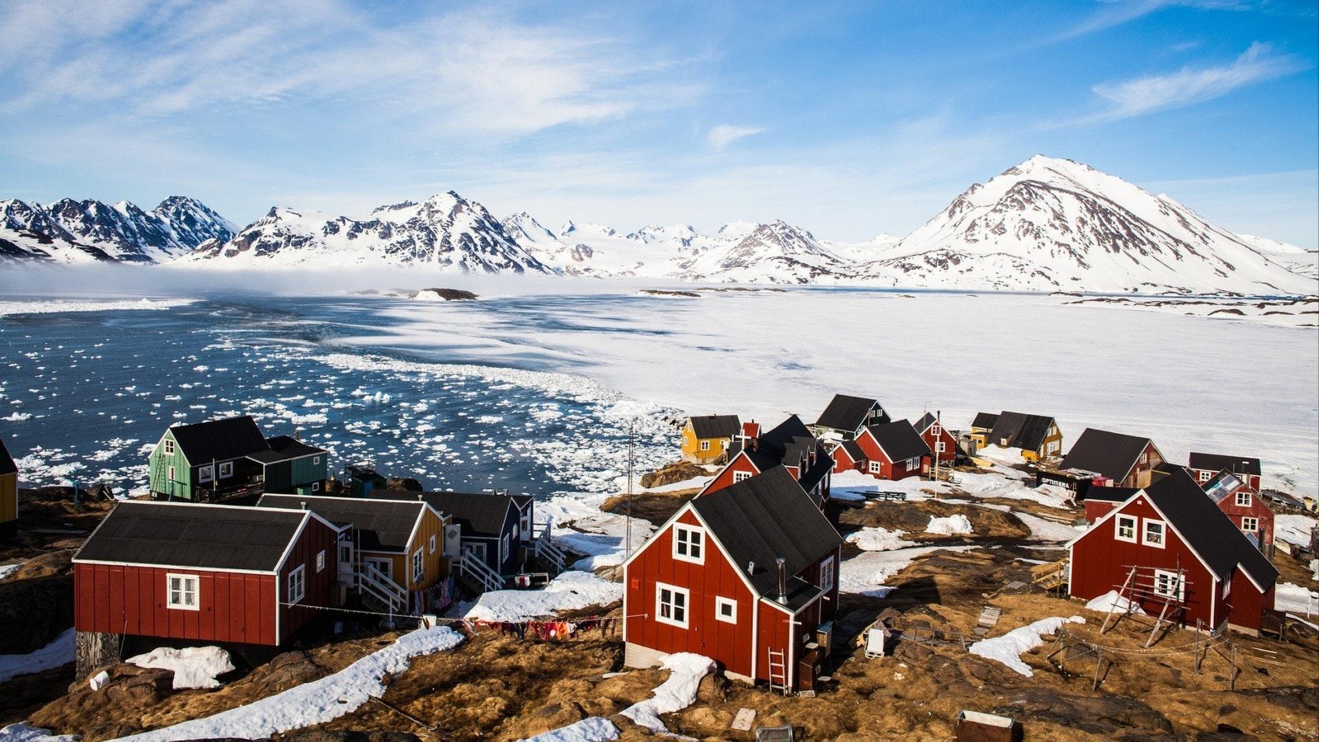 Greenland May 8 2017. Kulusuk village, east Greenland