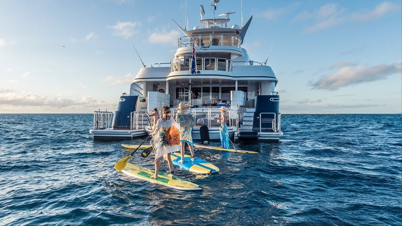 Guests having fun on paddle boards