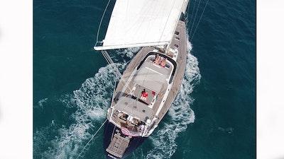 Aerial view of a fun time aboard Cap II