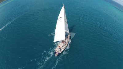 Aerial shot of Cap II under sail