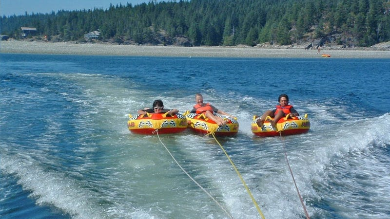 Tubing in the warm waters of Desolation Sound.