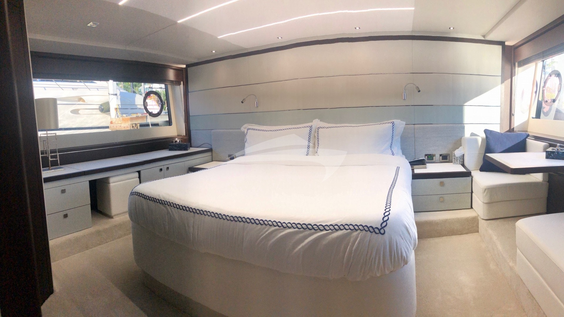 Master stateroom - full width - makeup table & settee
