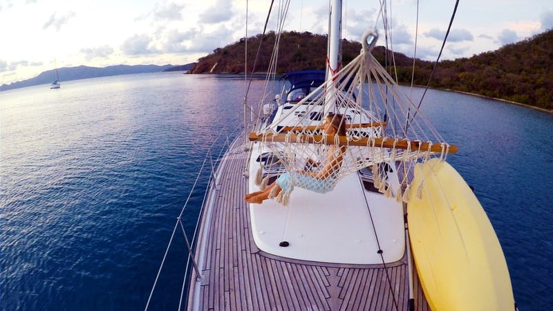 SAYANG :: Enjoying the hammock on the foredeck