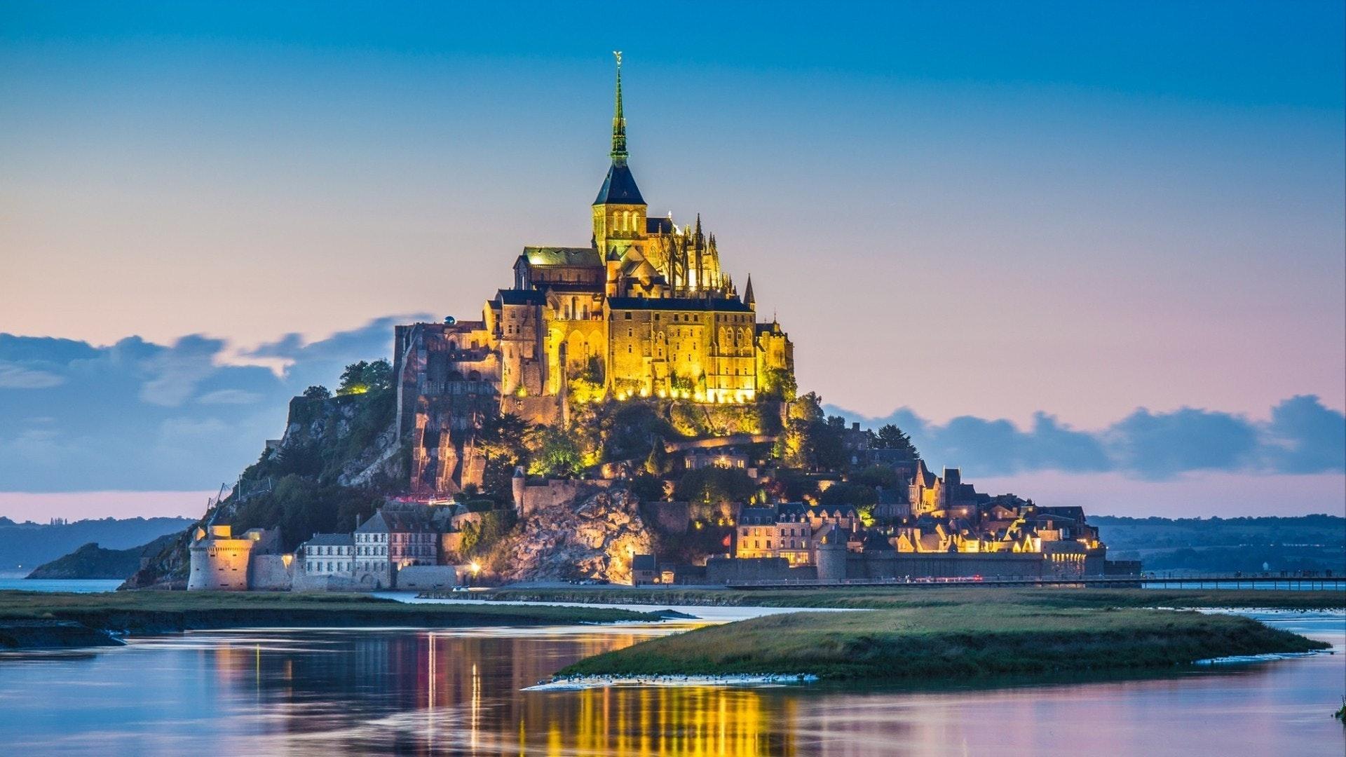 Beautiful view of famous Le Mont Saint-Michel tidal island