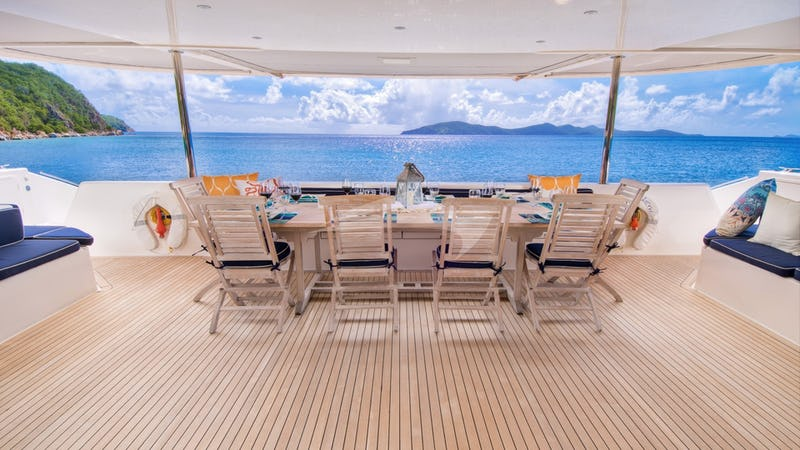 Zingara's aft deck lounging and dining area