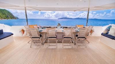 Zingara's aft deck lounging and dining area
