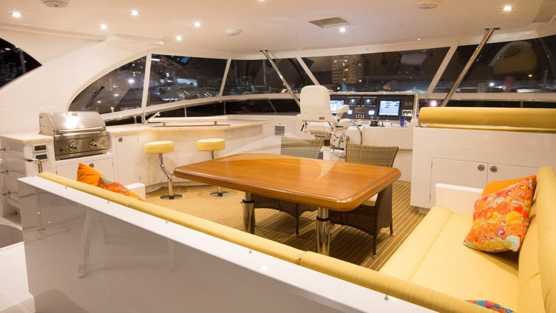 SEA BOSS :: Flybridge seating & dining area with BBQ