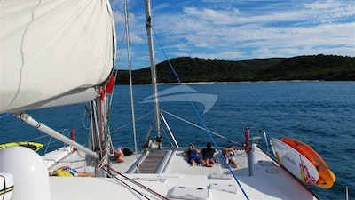 Lounging on the foredeck.