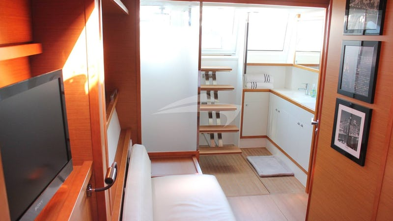 SERENITY NOW :: Master Cabin sitting area with aft deck access