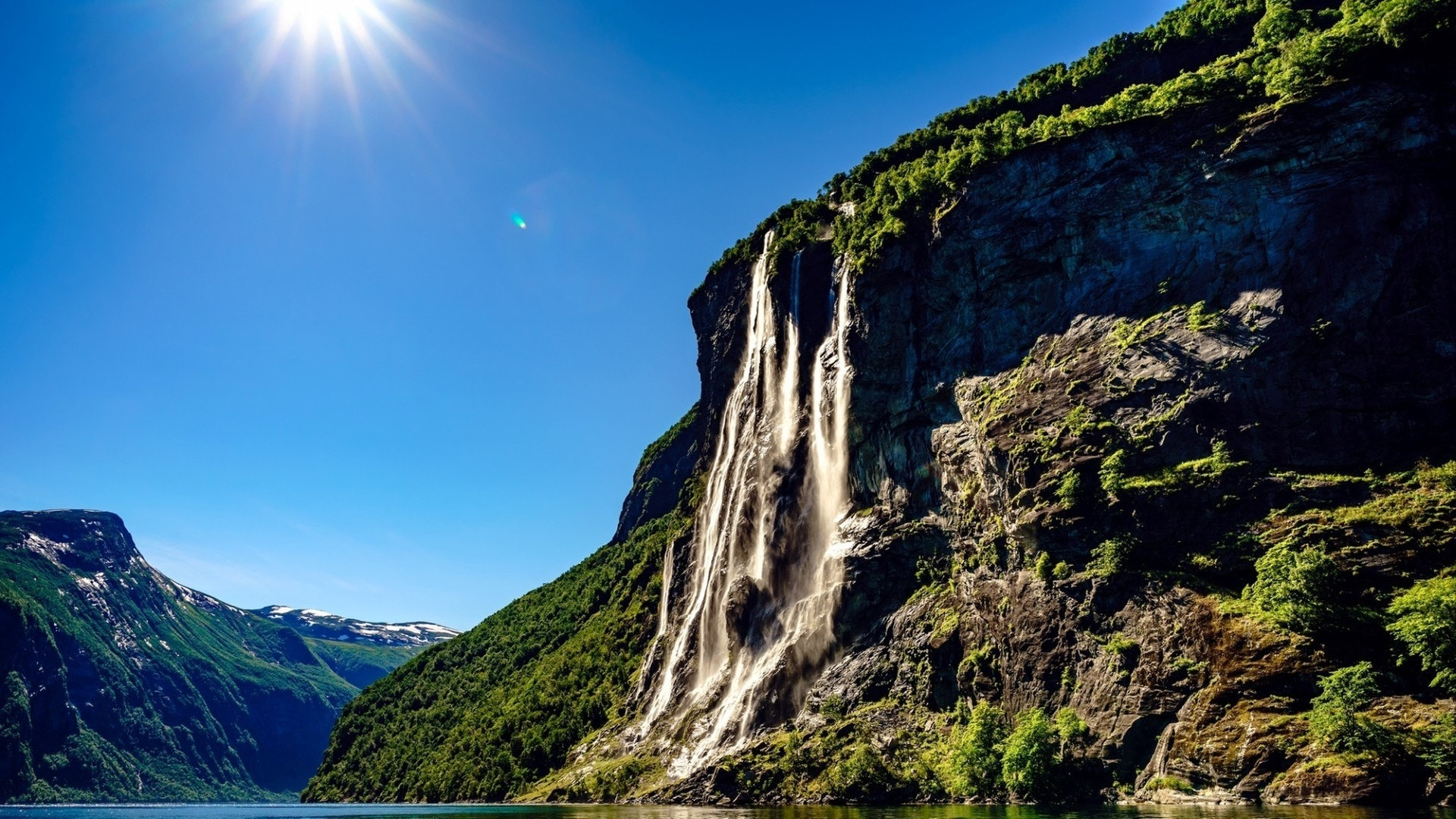 Geiranger fjord, waterfall Seven Sisters. Norway natural landscape