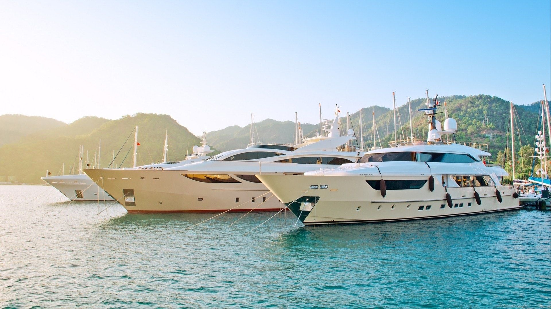Superyachts moored in Bodrum, Turkey