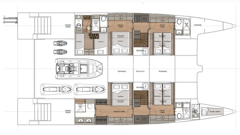 Low deck with aft toys garage - layout
