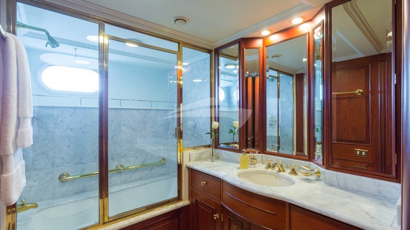 LADY J :: Lady J Guest Stateroom tub with shower overhead