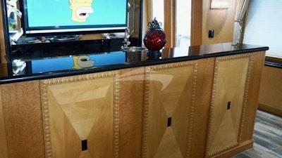 Salon buffet with lifting TV
