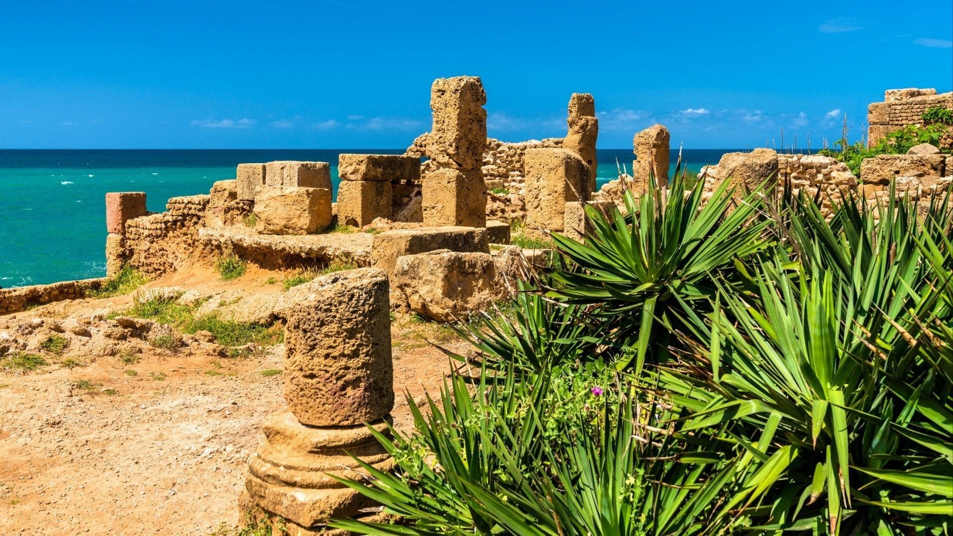 Ruínas de Tipasa, uma colônia romana em Mauretania Caesariensis