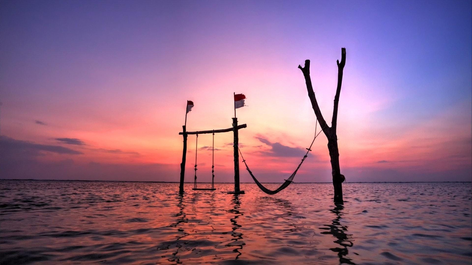 Coucher de soleil sur l'île Gili Trawangan, Lombok, Indonésie..
