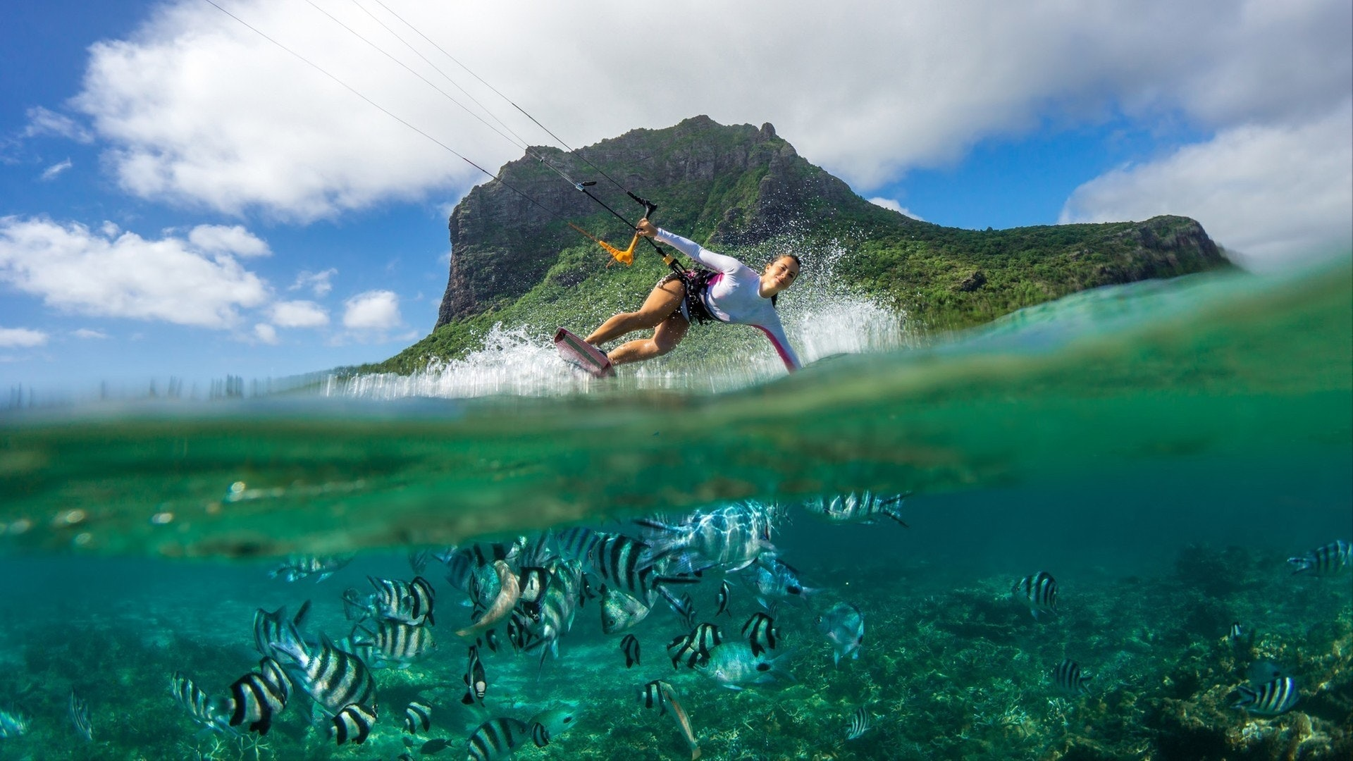 Kiting in the clear waters of the Indian Ocean in Mauritius