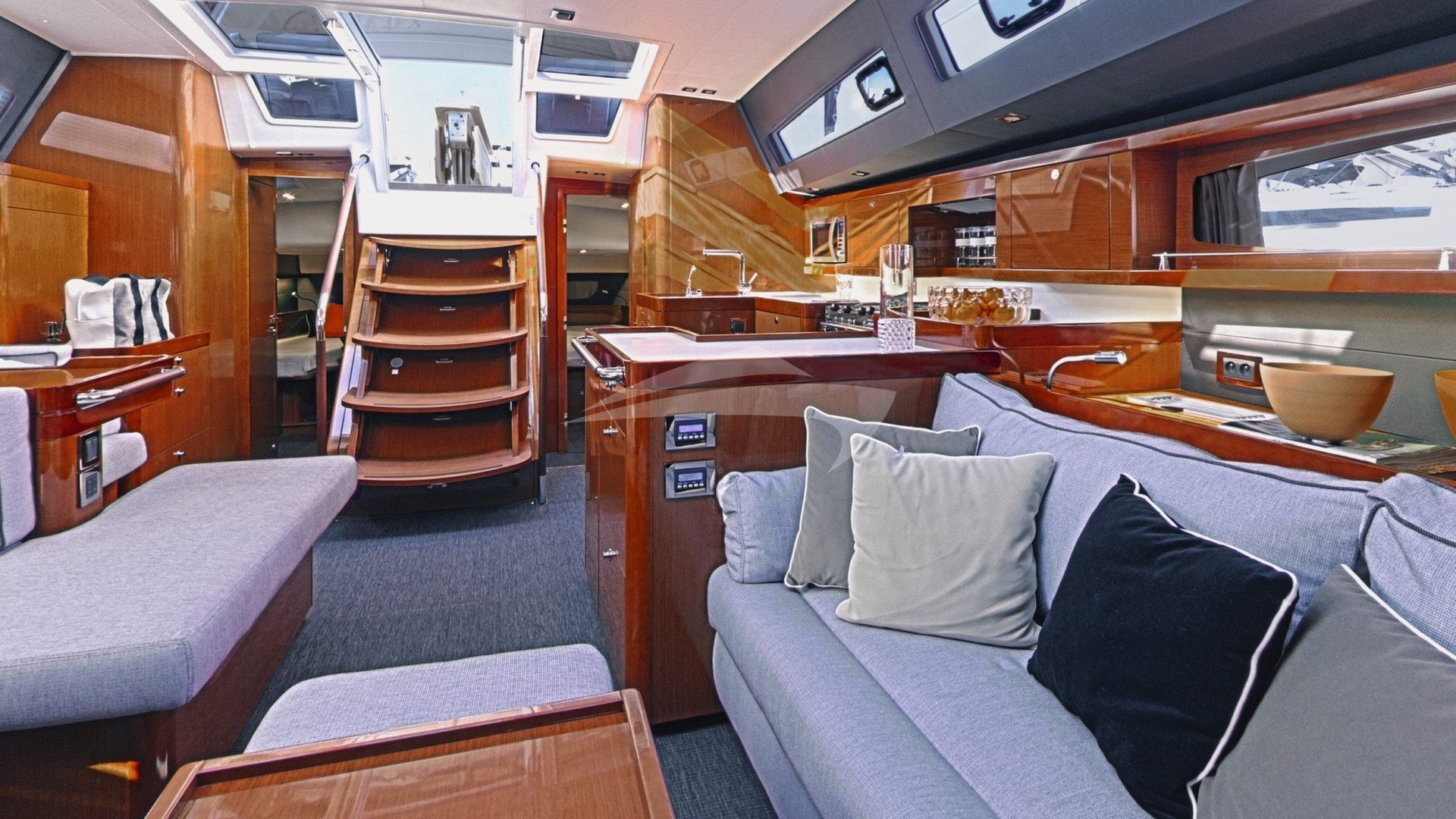 From the saloon looking aft