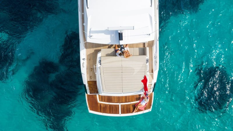 STRATEGIC DREAMS :: Overhead shot of aft deck/swim platform