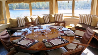 Aft Deck Dining and Seating. Can be fully enclosed.
